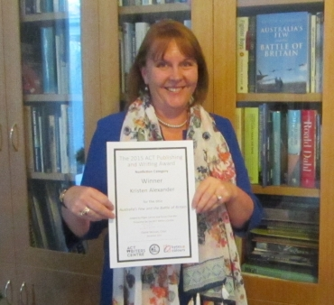 Australia's Few and the Battle of Britain won the nonfiction category of the 2015 ACT Publishing and Writing Award.. Proudly displaying my certificate.
